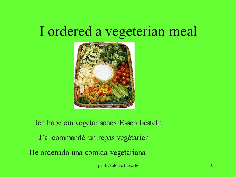 prof. Antonio Lasorte94 I ordered a vegeterian meal Ich habe ein vegetarisches Essen bestellt Jai commandé un repas végétarien He ordenado una comida