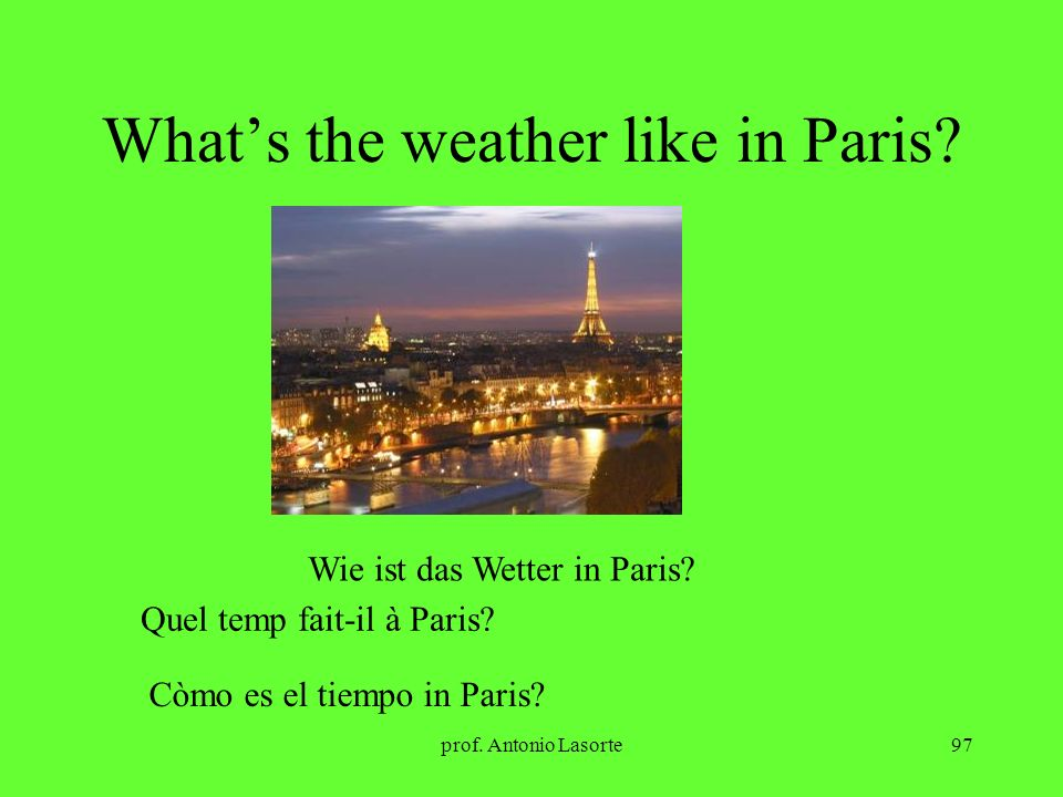 prof.Antonio Lasorte97 Whats the weather like in Paris.