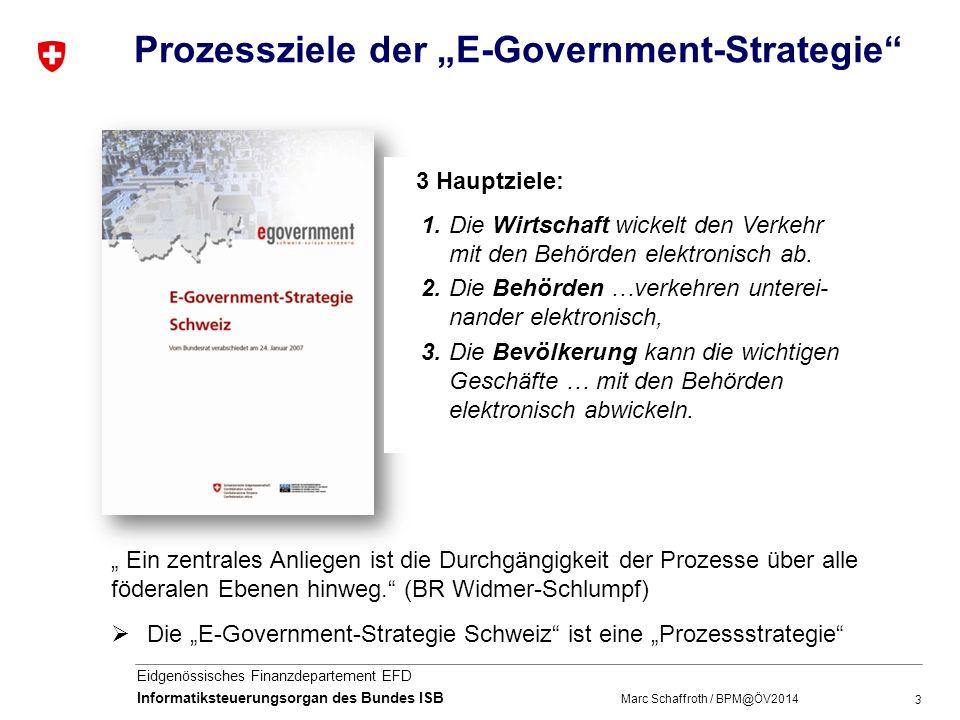 3 Eidgenössisches Finanzdepartement EFD Informatiksteuerungsorgan des Bundes ISB Prozessziele der E-Government-Strategie 1.Die Wirtschaft wickelt den