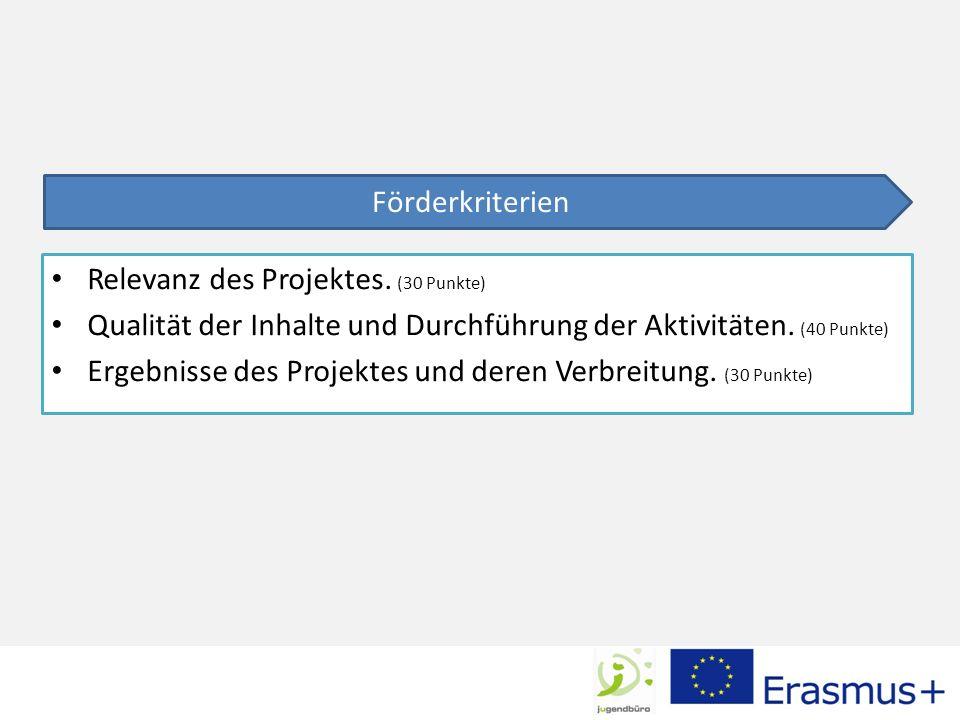 Relevanz des Projektes. (30 Punkte) Qualität der Inhalte und Durchführung der Aktivitäten.