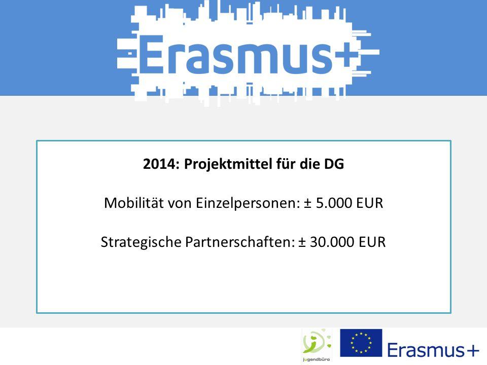 2014: Projektmittel für die DG Mobilität von Einzelpersonen: ± 5.000 EUR Strategische Partnerschaften: ± 30.000 EUR