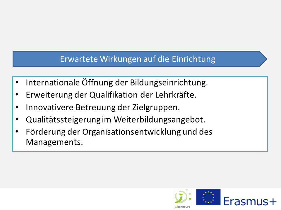 Internationale Öffnung der Bildungseinrichtung.Erweiterung der Qualifikation der Lehrkräfte.