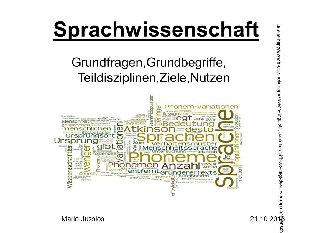 Sprachwissenschaft Grundfragen,Grundbegriffe, Teildisziplinen,Ziele,Nutzen Quelle:http://www.h-age.net/images/wenn-linguistik-evolution-trifft-wo-liegt-der-ursprung-der-menschlichen-sprache.jpg Marie Jussios 21.10.2013