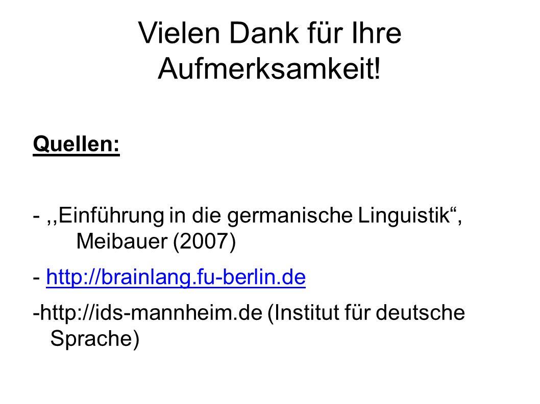 Vielen Dank für Ihre Aufmerksamkeit! Quellen: -,,Einführung in die germanische Linguistik, Meibauer (2007) - http://brainlang.fu-berlin.dehttp://brain