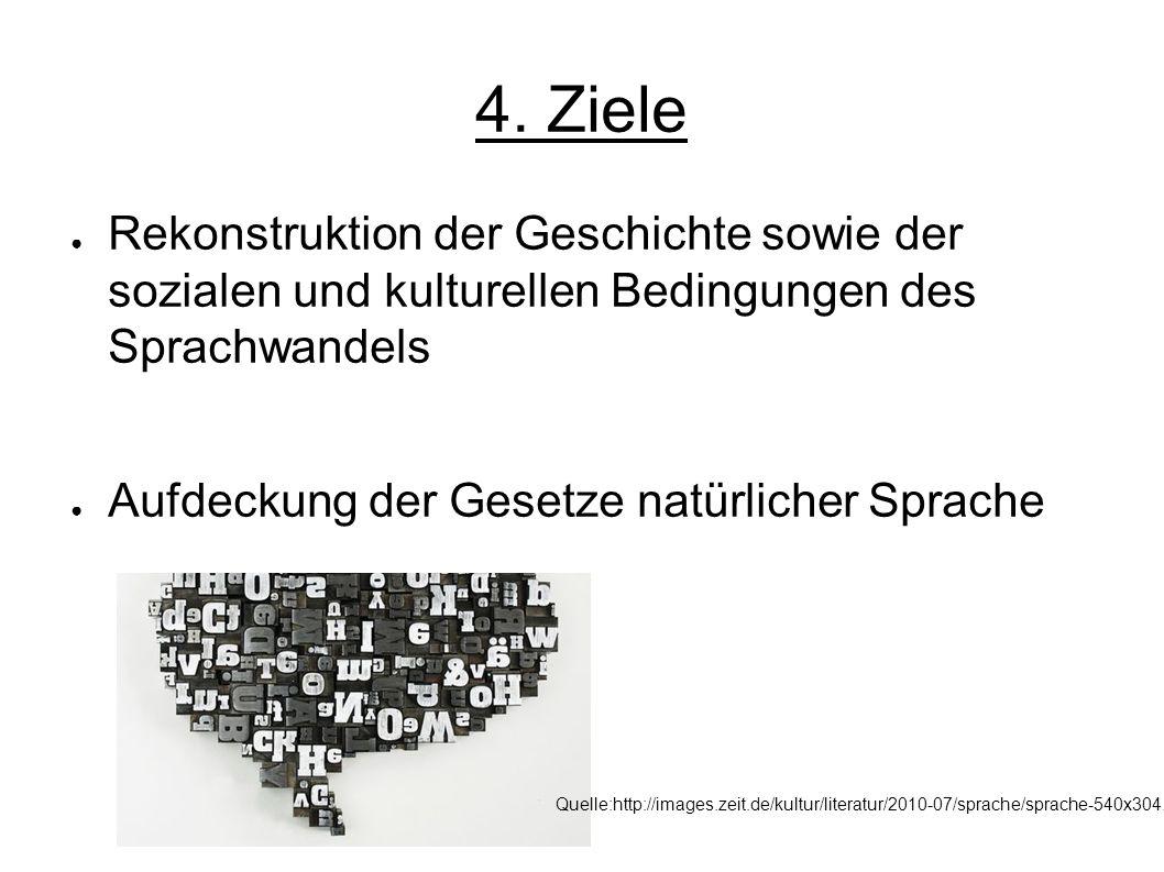 4. Ziele Rekonstruktion der Geschichte sowie der sozialen und kulturellen Bedingungen des Sprachwandels Aufdeckung der Gesetze natürlicher Sprache Que