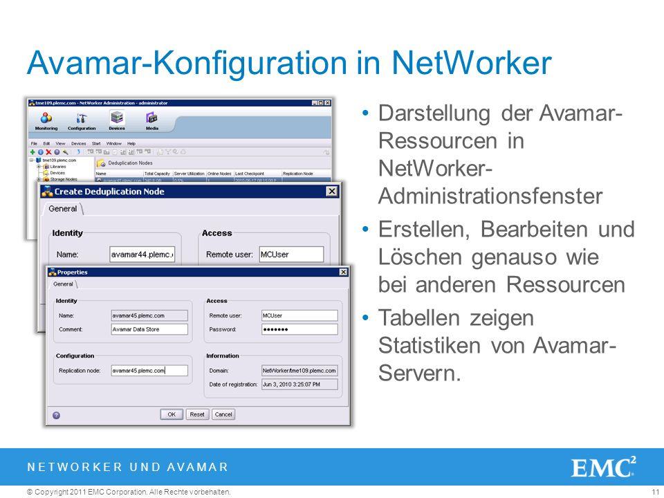 11© Copyright 2011 EMC Corporation. Alle Rechte vorbehalten. Avamar-Konfiguration in NetWorker Darstellung der Avamar- Ressourcen in NetWorker- Admini