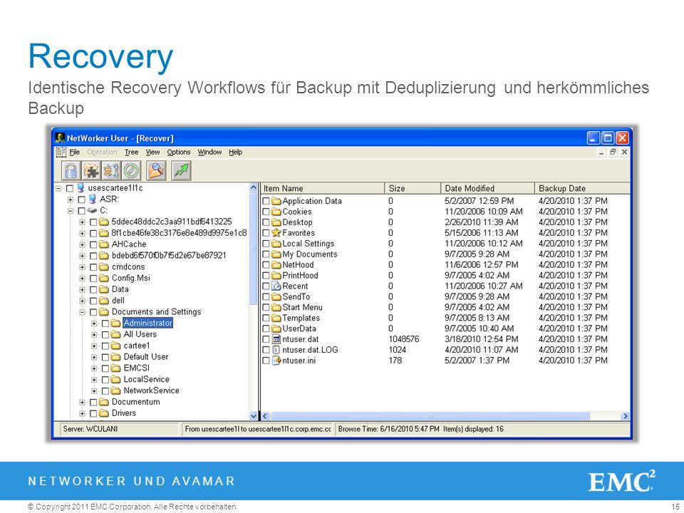 15© Copyright 2011 EMC Corporation. Alle Rechte vorbehalten. Recovery Identische Recovery Workflows für Backup mit Deduplizierung und herkömmliches Ba