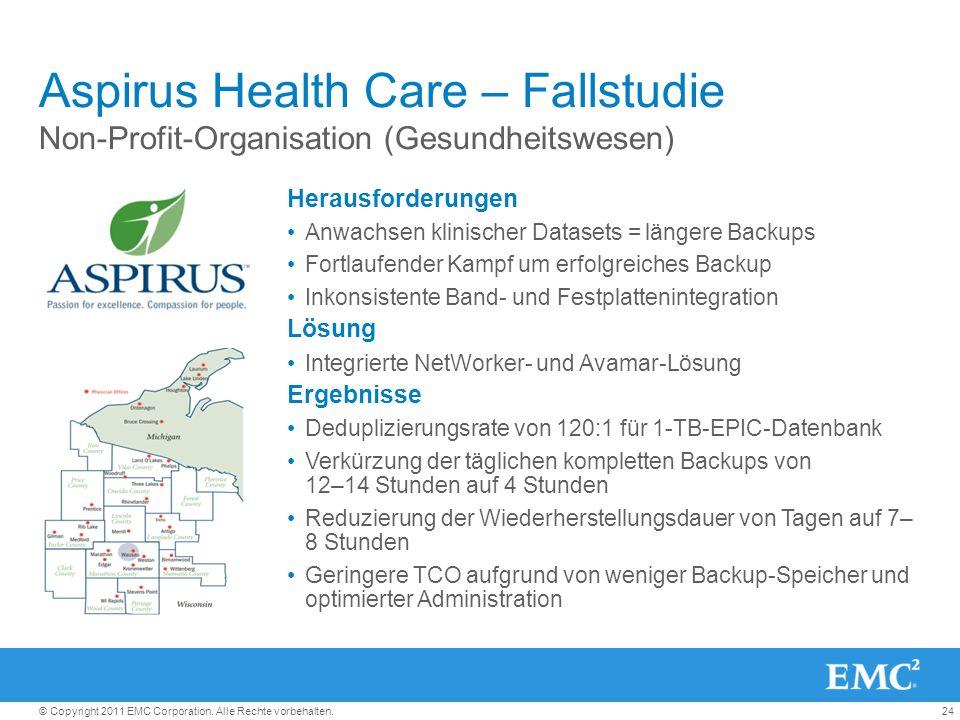 24© Copyright 2011 EMC Corporation. Alle Rechte vorbehalten. Aspirus Health Care – Fallstudie Non-Profit-Organisation (Gesundheitswesen) Herausforderu
