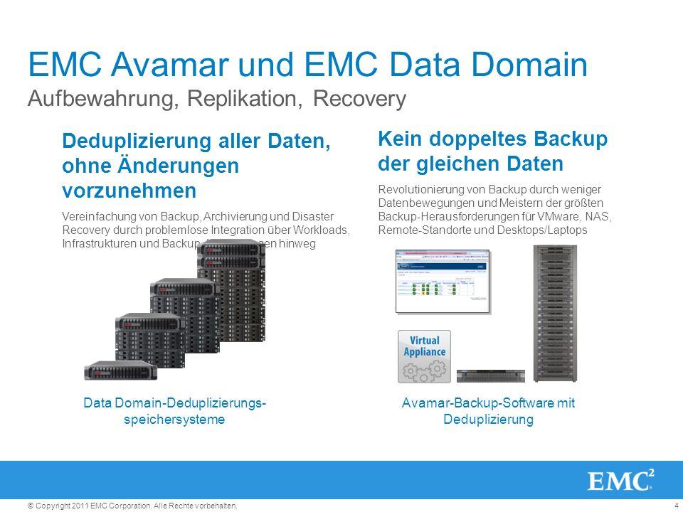 4© Copyright 2011 EMC Corporation. Alle Rechte vorbehalten. EMC Avamar und EMC Data Domain Aufbewahrung, Replikation, Recovery Deduplizierung aller Da