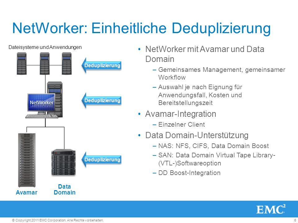 6© Copyright 2011 EMC Corporation. Alle Rechte vorbehalten. NetWorker: Einheitliche Deduplizierung NetWorker mit Avamar und Data Domain –Gemeinsames M