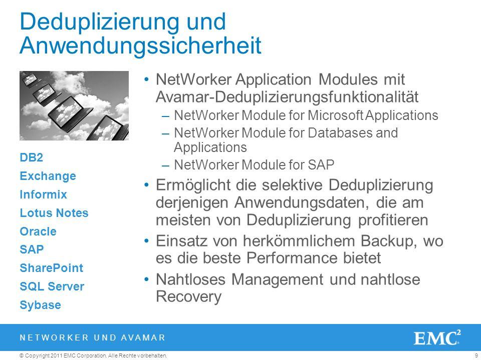 9© Copyright 2011 EMC Corporation. Alle Rechte vorbehalten. Deduplizierung und Anwendungssicherheit NetWorker Application Modules mit Avamar-Deduplizi