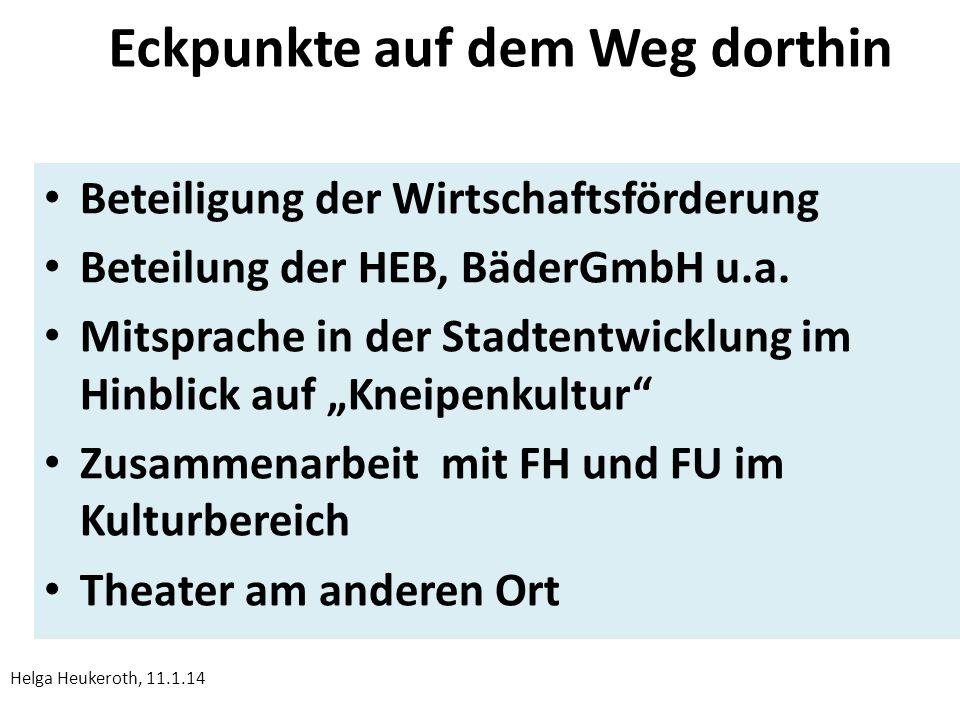 Eckpunkte auf dem Weg dorthin Beteiligung der Wirtschaftsförderung Beteilung der HEB, BäderGmbH u.a.