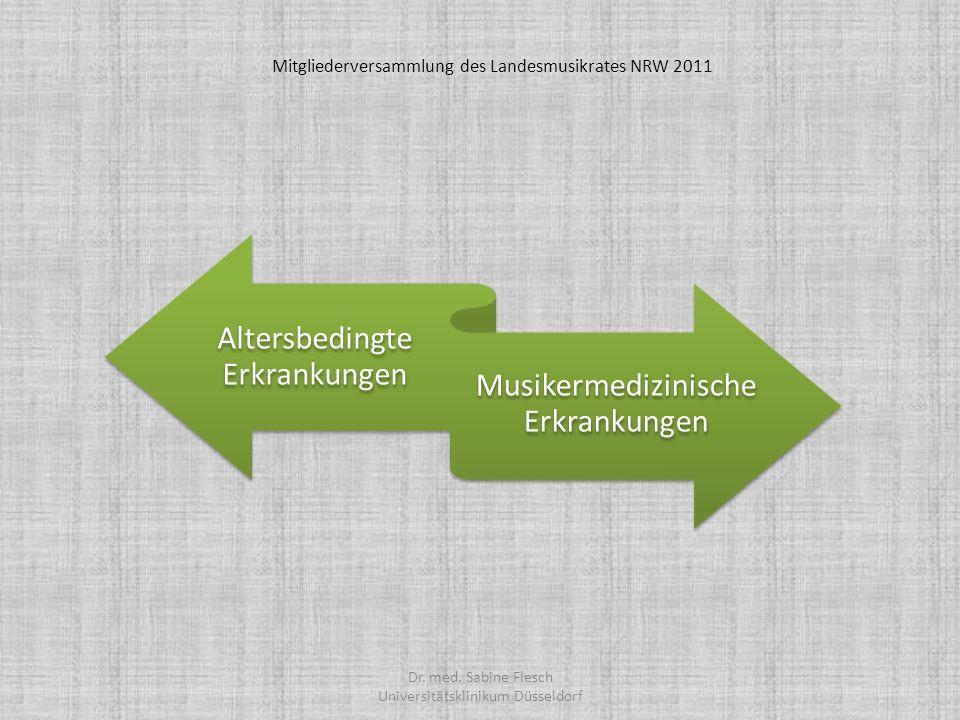 Altersbedingte Erkrankungen Musikermedizinische Erkrankungen Dr. med. Sabine Flesch Universitätsklinikum Düsseldorf