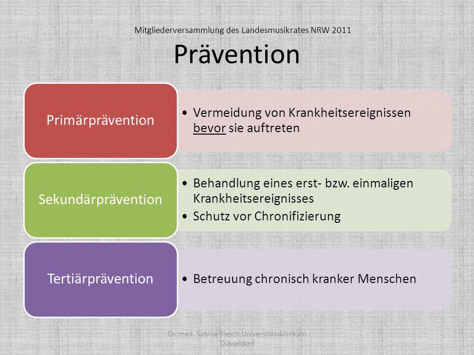 Prävention Vermeidung von Krankheitsereignissen bevor sie auftreten Primärprävention Behandlung eines erst- bzw. einmaligen Krankheitsereignisses Schu