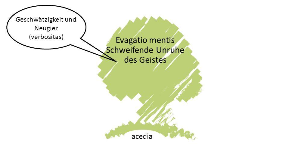 Evagatio mentis Schweifende Unruhe des Geistes acedia Geschwätzigkeit und Neugier (verbositas)