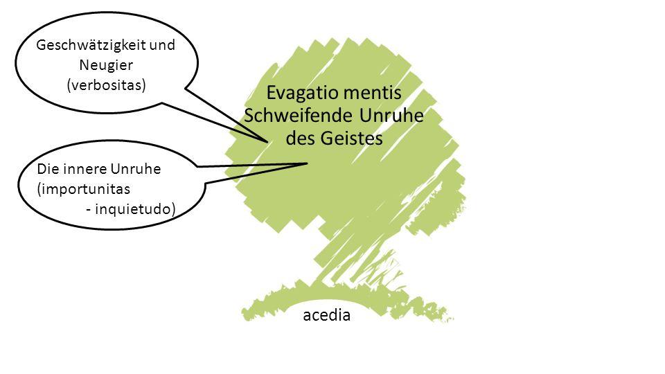 Evagatio mentis Schweifende Unruhe des Geistes acedia Geschwätzigkeit und Neugier (verbositas) Die innere Unruhe (importunitas - inquietudo)
