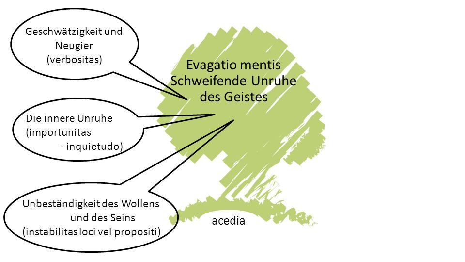 Evagatio mentis Schweifende Unruhe des Geistes acedia Geschwätzigkeit und Neugier (verbositas) Die innere Unruhe (importunitas - inquietudo) Unbeständigkeit des Wollens und des Seins (instabilitas loci vel propositi)
