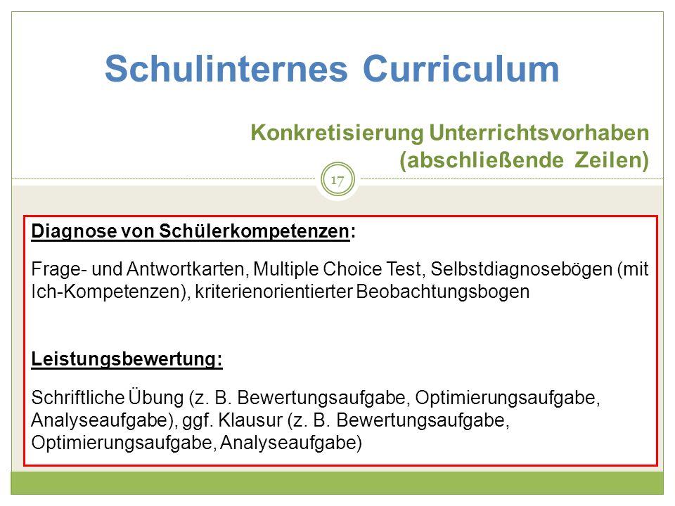 Schulinternes Curriculum Konkretisierung Unterrichtsvorhaben (abschließende Zeilen) Diagnose von Schülerkompetenzen: Frage- und Antwortkarten, Multiple Choice Test, Selbstdiagnosebögen (mit Ich-Kompetenzen), kriterienorientierter Beobachtungsbogen Leistungsbewertung: Schriftliche Übung (z.