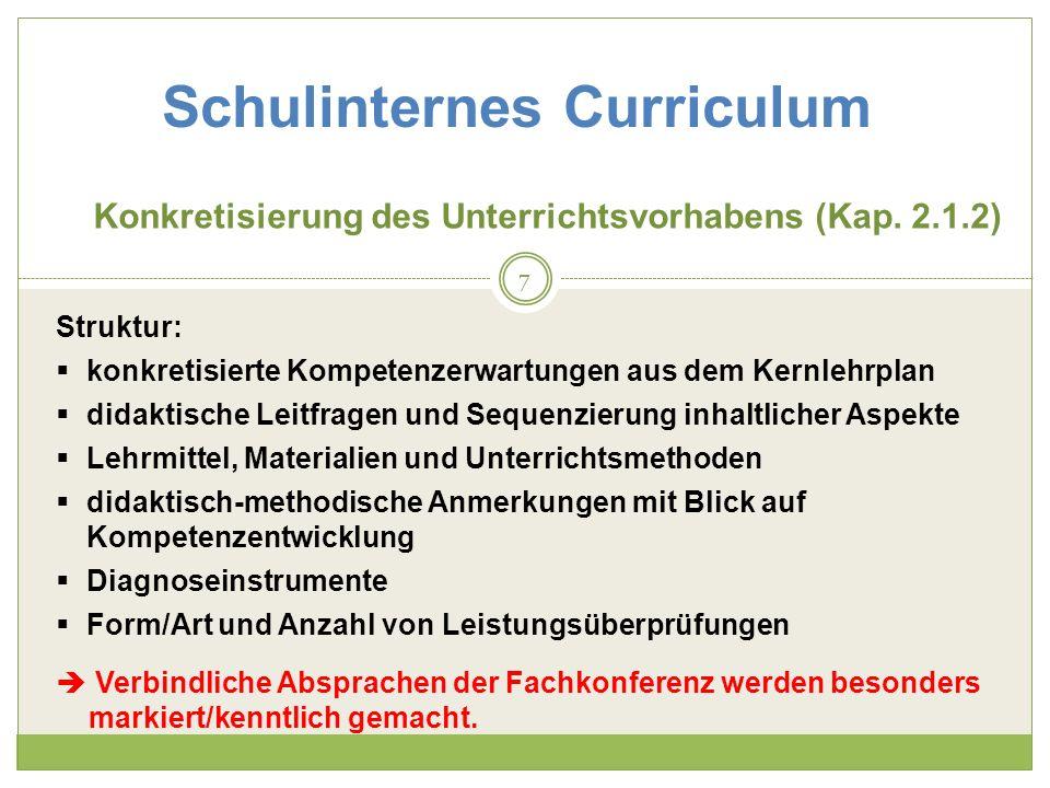 Schulinternes Curriculum Konkretisierung des Unterrichtsvorhabens (Kap.