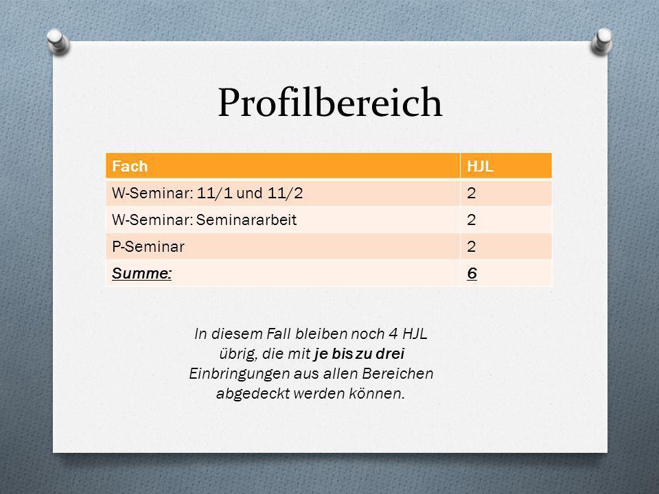 Profilbereich FachHJL W-Seminar: 11/1 und 11/22 W-Seminar: Seminararbeit2 P-Seminar2 Summe:6 In diesem Fall bleiben noch 4 HJL übrig, die mit je bis zu drei Einbringungen aus allen Bereichen abgedeckt werden können.