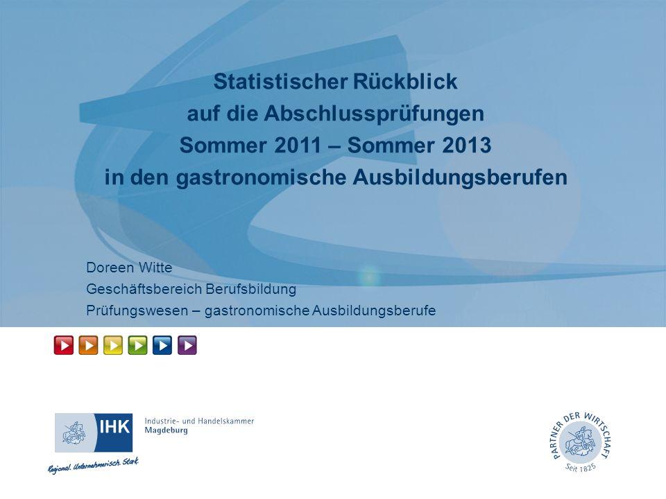 Statistischer Rückblick auf die Abschlussprüfungen Sommer 2011 – Sommer 2013 in den gastronomische Ausbildungsberufen Doreen Witte Geschäftsbereich Be