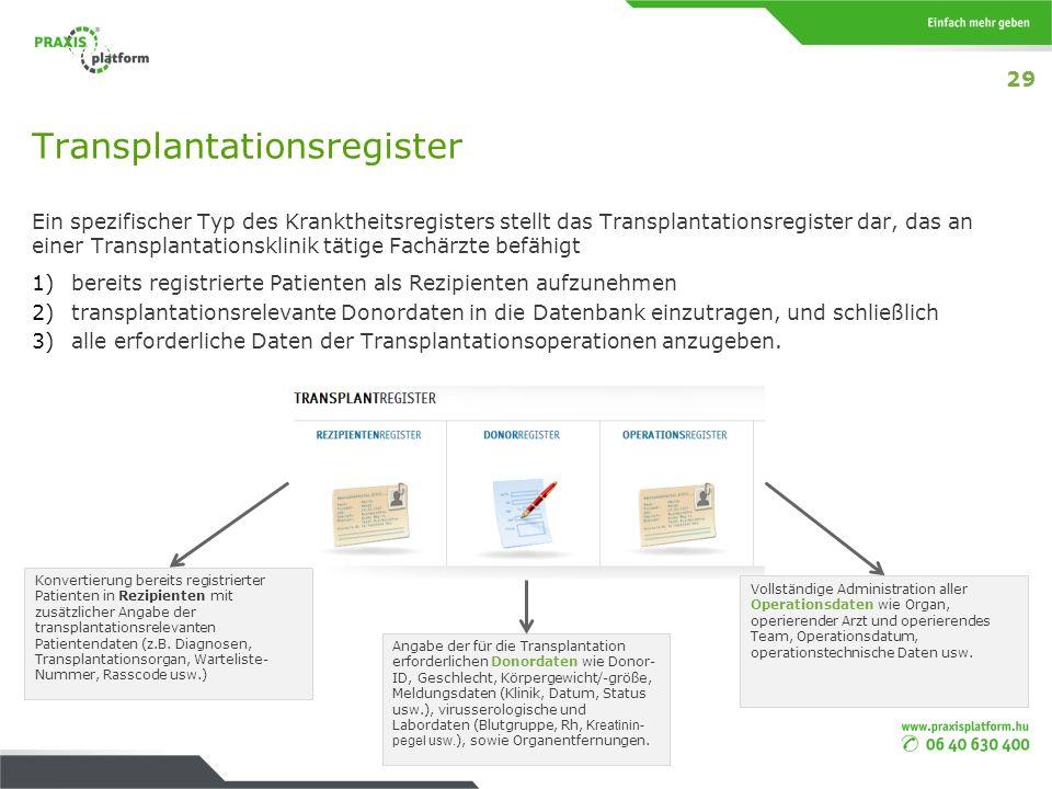 Transplantationsregister Ein spezifischer Typ des Kranktheitsregisters stellt das Transplantationsregister dar, das an einer Transplantationsklinik tä