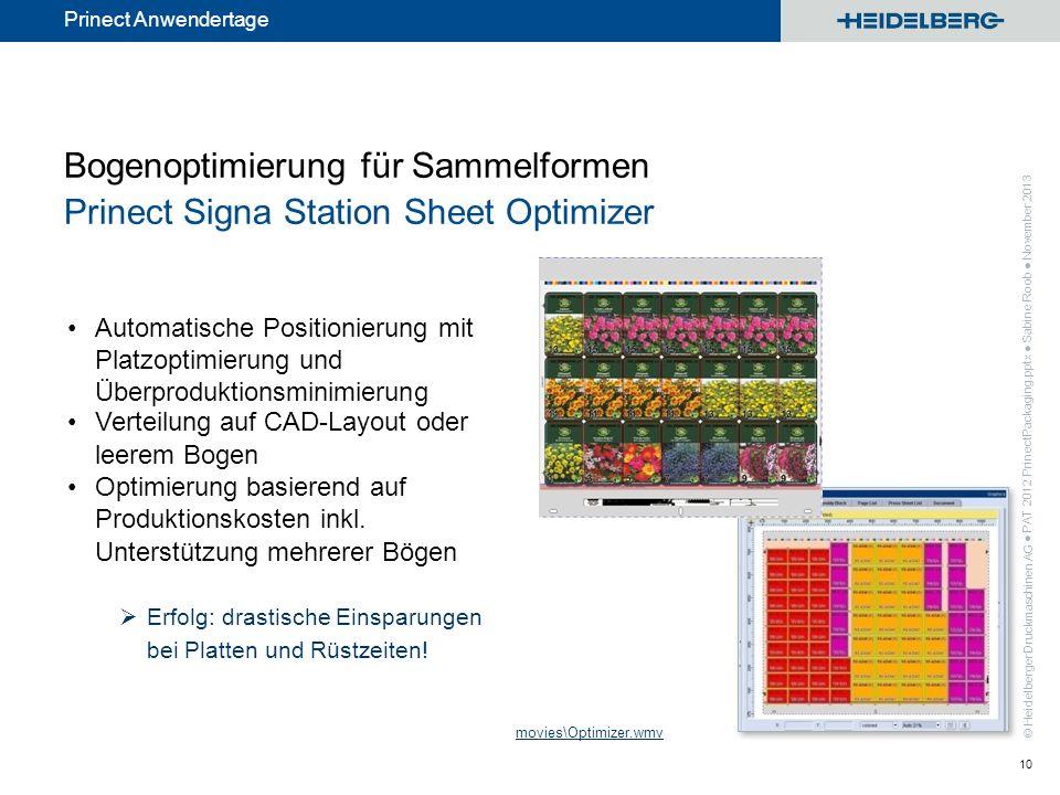 © Heidelberger Druckmaschinen AG Prinect Anwendertage Bogenoptimierung für Sammelformen Prinect Signa Station Sheet Optimizer Automatische Positionier
