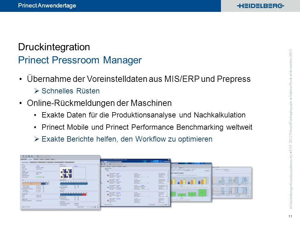 © Heidelberger Druckmaschinen AG Prinect Anwendertage Druckintegration Prinect Pressroom Manager Übernahme der Voreinstelldaten aus MIS/ERP und Prepre
