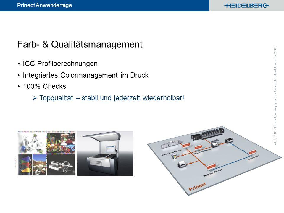 © Heidelberger Druckmaschinen AG Prinect Anwendertage Farb- & Qualitätsmanagement ICC-Profilberechnungen Integriertes Colormanagement im Druck 100% Ch