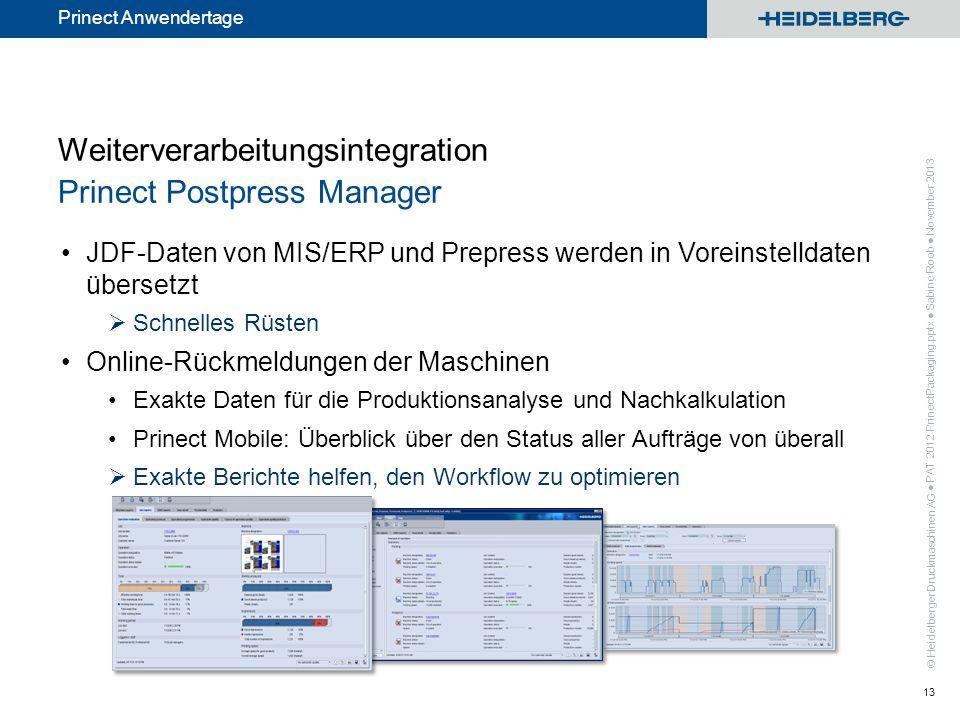 © Heidelberger Druckmaschinen AG Prinect Anwendertage Weiterverarbeitungsintegration Prinect Postpress Manager JDF-Daten von MIS/ERP und Prepress werd