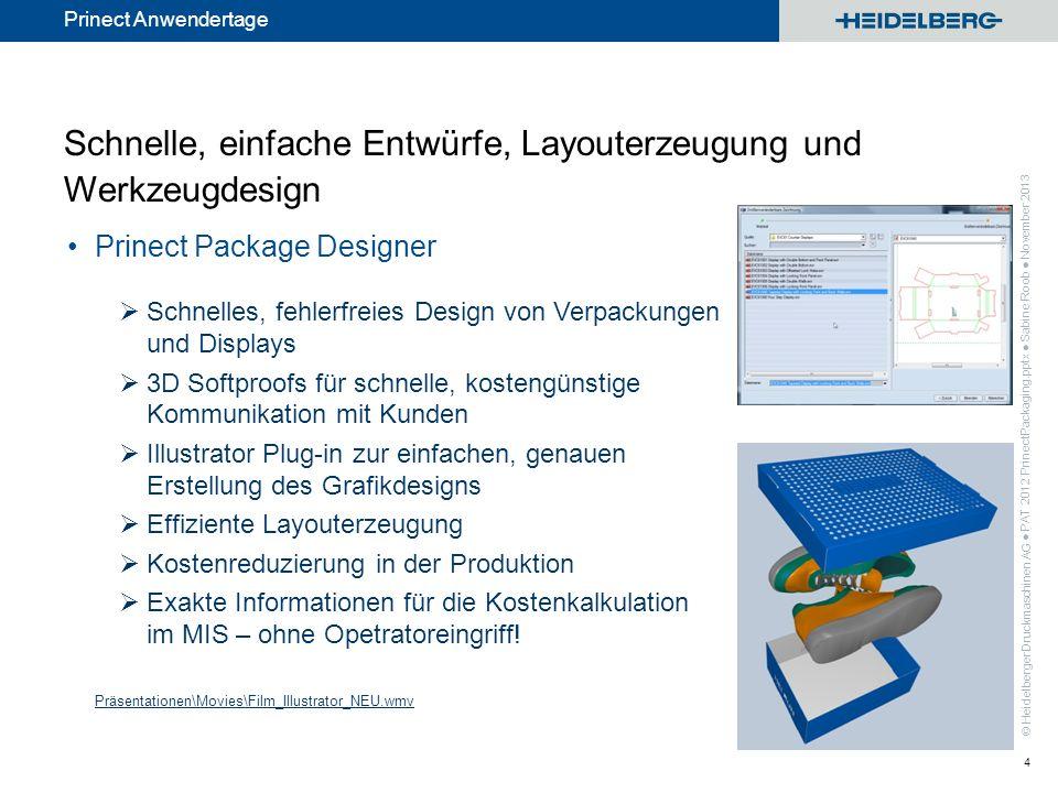 © Heidelberger Druckmaschinen AG Prinect Anwendertage Schnelle, einfache Entwürfe, Layouterzeugung und Werkzeugdesign Prinect Package Designer Schnell
