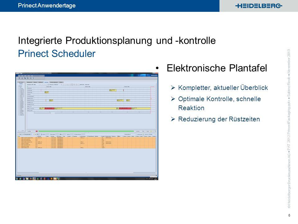© Heidelberger Druckmaschinen AG Prinect Anwendertage Elektronische Plantafel Kompletter, aktueller Überblick Optimale Kontrolle, schnelle Reaktion Re