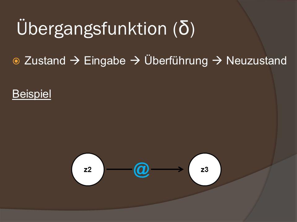 Übergangsfunktion ( δ ) Zustand Eingabe Überführung Neuzustand Beispiel z2z3 @