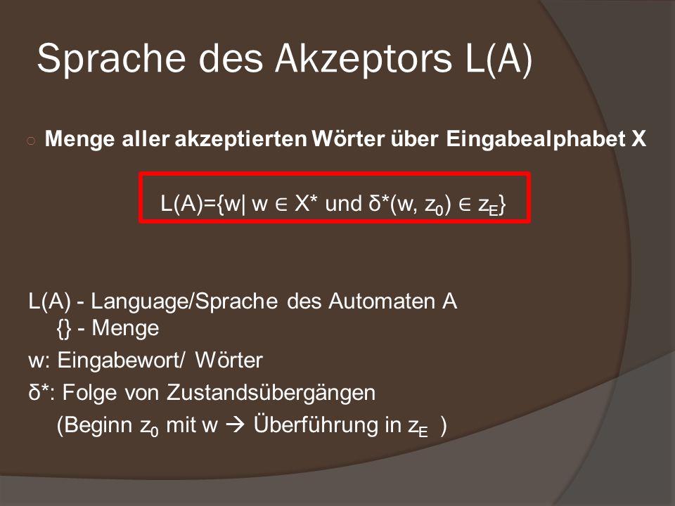 Menge aller akzeptierten Wörter über Eingabealphabet X L(A)={w| w X* und δ*(w, z 0 ) z E } L(A) - Language/Sprache des Automaten A {} - Menge w: Einga