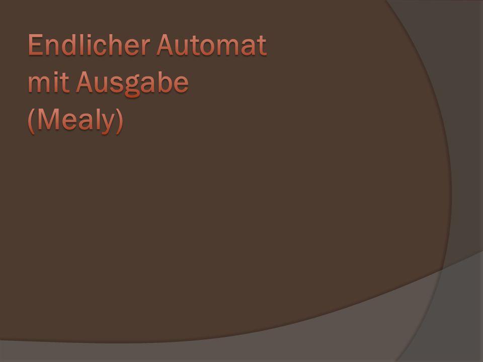 Arbeitsweise Zustandsangabe nach Bearbeitung des Eingabewortes Endzustand = True (Signallampe) Anderer Zustand = False