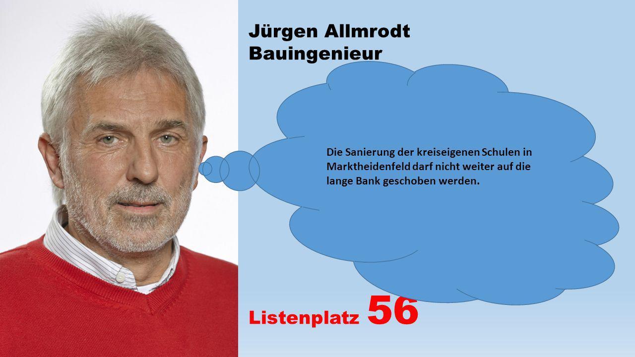 Jürgen Allmrodt Bauingenieur Listenplatz 56 Die Sanierung der kreiseigenen Schulen in Marktheidenfeld darf nicht weiter auf die lange Bank geschoben w
