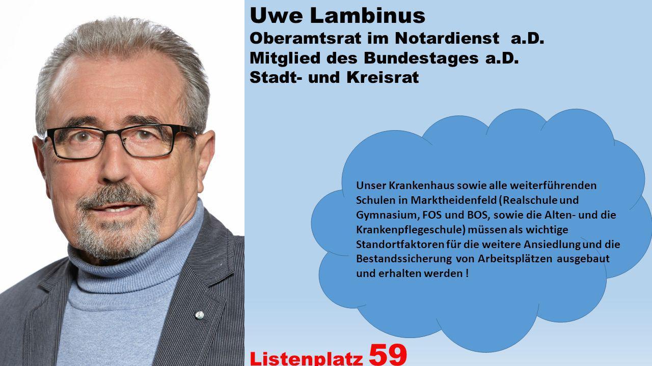 Uwe Lambinus Oberamtsrat im Notardienst a.D. Mitglied des Bundestages a.D. Stadt- und Kreisrat Listenplatz 59 Unser Krankenhaus sowie alle weiterführe