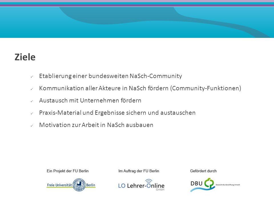 Ziele Etablierung einer bundesweiten NaSch-Community Kommunikation aller Akteure in NaSch fördern (Community-Funktionen) Austausch mit Unternehmen fördern Praxis-Material und Ergebnisse sichern und austauschen Motivation zur Arbeit in NaSch ausbauen