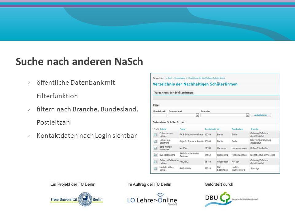 Aktiver Austausch mit anderen NaSch, Experten, Multiplikatoren, Unternehmen Forum Materialbörse Schwarzes Brett Wiki Mail/Messenger Expertenchats