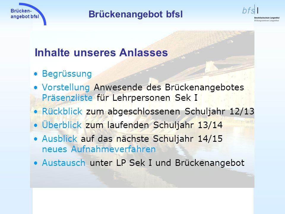 Brücken- angebot bfsl Inhalte unseres Anlasses Brückenangebot bfsl Begrüssung Vorstellung Anwesende des Brückenangebotes Präsenzliste für Lehrpersonen