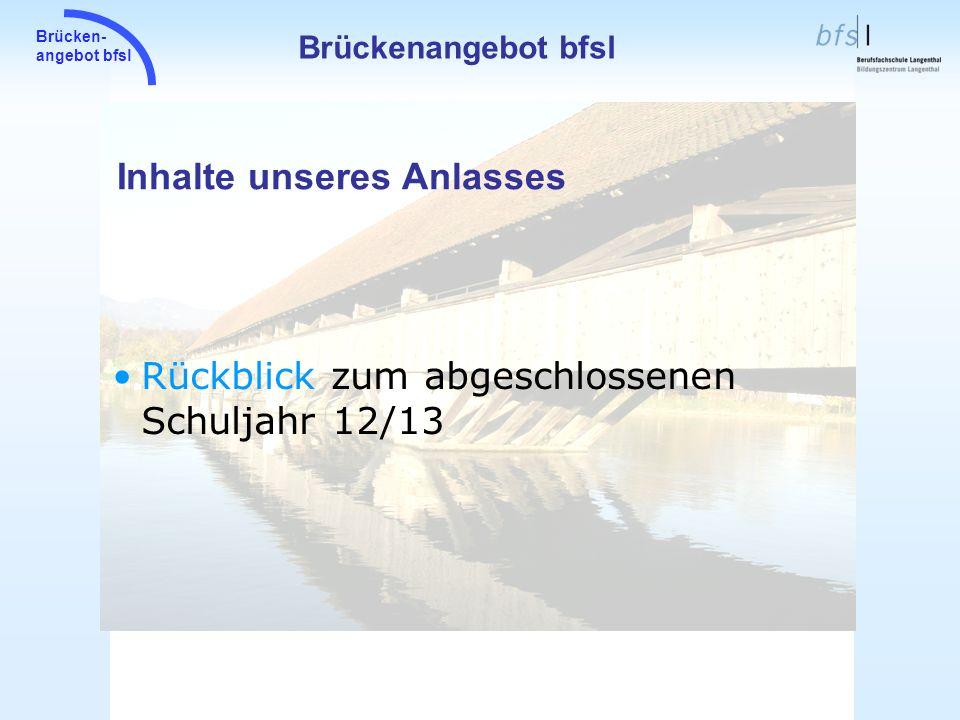 Brücken- angebot bfsl Wir suchen: 2 Lehrpersonen die zwischen dem 10.2.14 und 21.2.14 das neue, elektronische Formular zweimal ausfüllen.