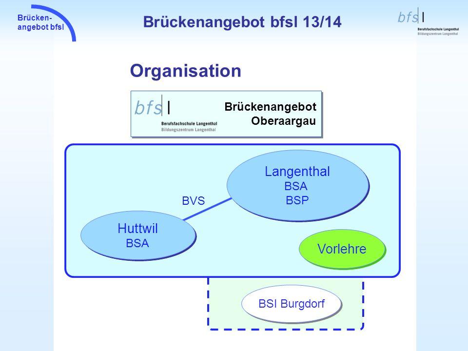 Brücken- angebot bfsl Einzugsgebiete der BSA Standorte Brückenangebot bfsl 13/14
