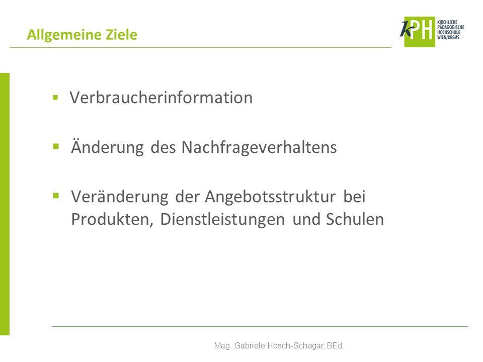 Verbraucherinformation Änderung des Nachfrageverhaltens Veränderung der Angebotsstruktur bei Produkten, Dienstleistungen und Schulen Allgemeine Ziele Mag.