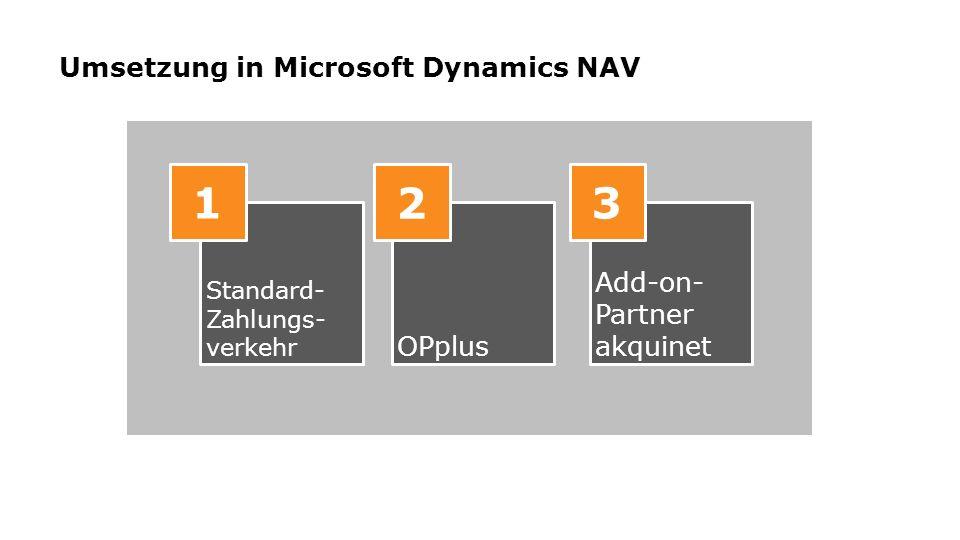 Umsetzung in Microsoft Dynamics NAV Standard- Zahlungs- verkehr OPplus Add-on- Partner akquinet 1 2 3