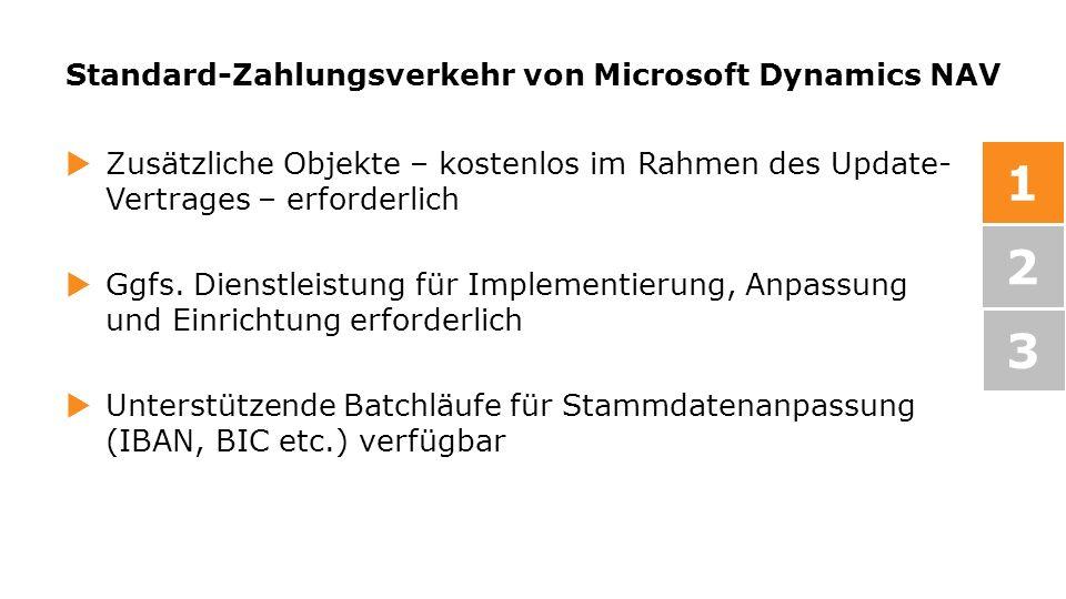 Standard-Zahlungsverkehr von Microsoft Dynamics NAV Zusätzliche Objekte – kostenlos im Rahmen des Update- Vertrages – erforderlich Ggfs. Dienstleistun