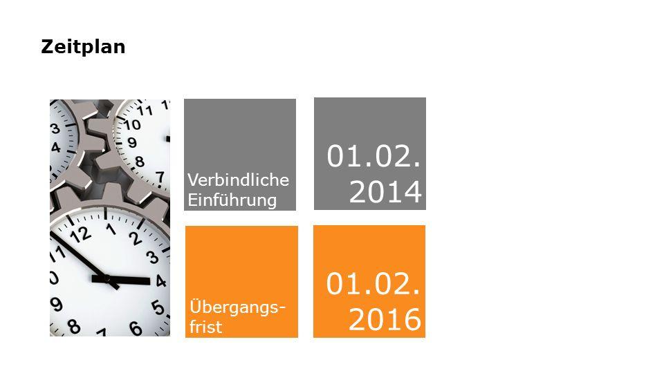 Zeitplan Verbindliche Einführung 01.02. 2014 01.02. 2016 Übergangs- frist