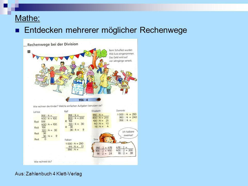 Mathe: Entdecken mehrerer möglicher Rechenwege Aus: Zahlenbuch 4 Klett-Verlag