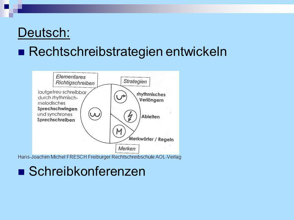 Deutsch: Rechtschreibstrategien entwickeln Hans-Joachim Michel FRESCH Freiburger Rechtschreibschule AOL-Verlag Schreibkonferenzen