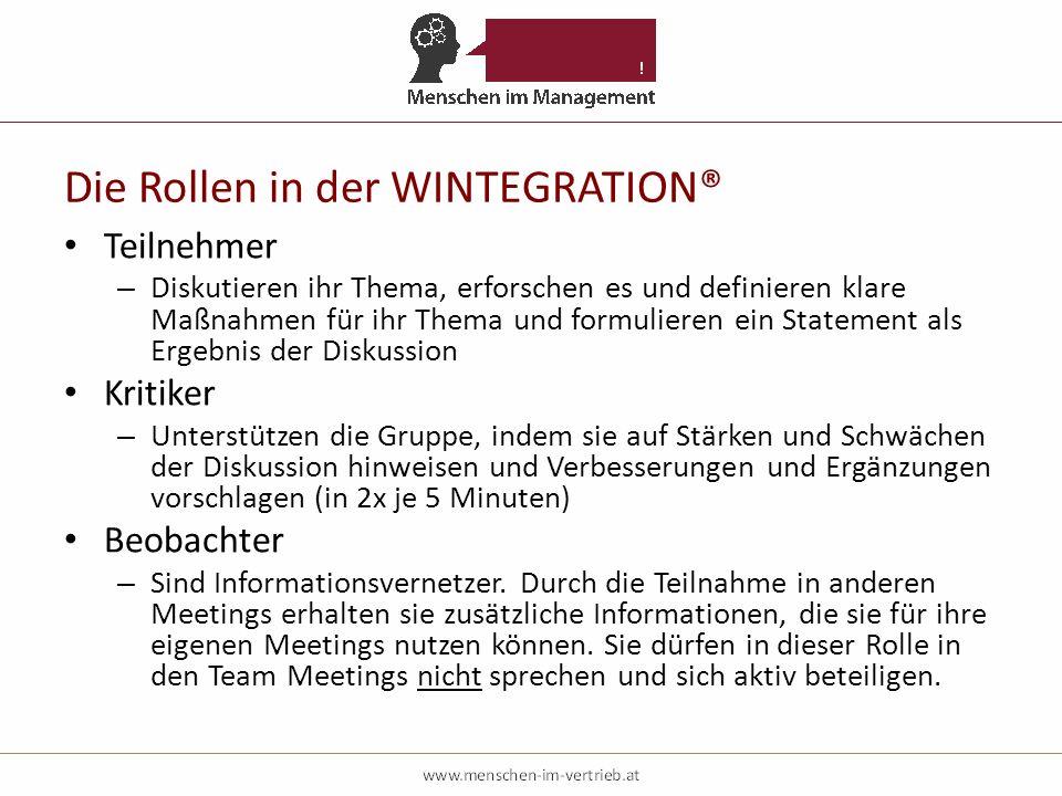 Die Rollen in der WINTEGRATION® Teilnehmer – Diskutieren ihr Thema, erforschen es und definieren klare Maßnahmen für ihr Thema und formulieren ein Sta