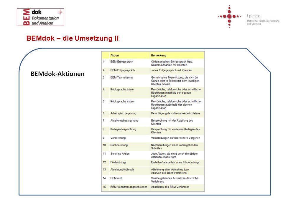 BEMdok – die Umsetzung II BEMdok-Aktionen